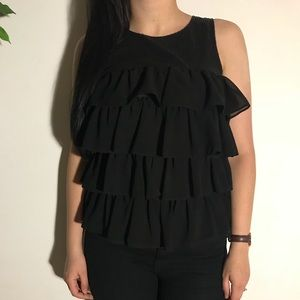 Forever 21 Black Ruffle/Sequenced Top